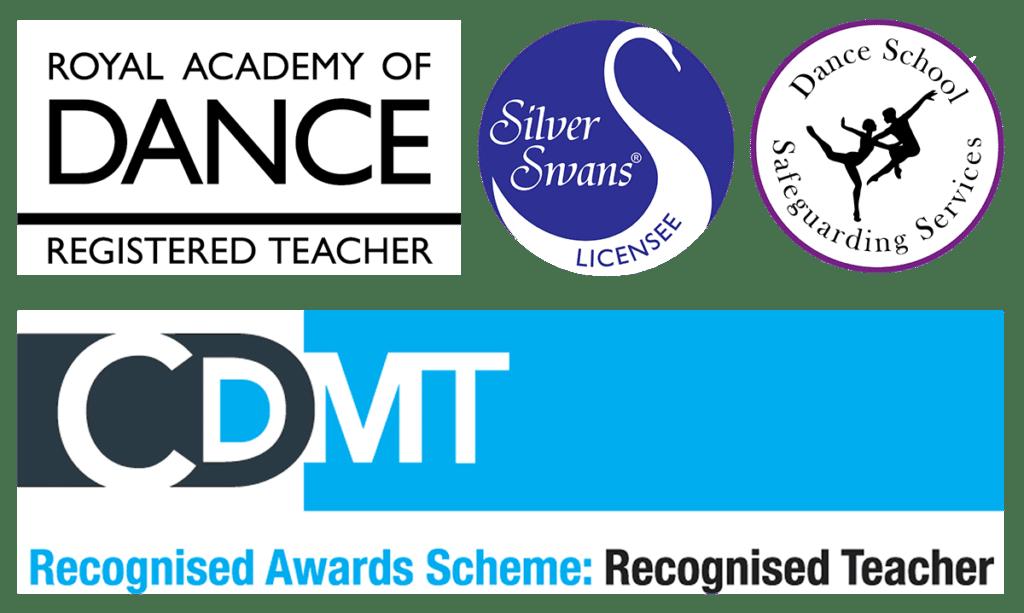 RAD logo silver swans safeguarding and cdmt recognised teacher logos
