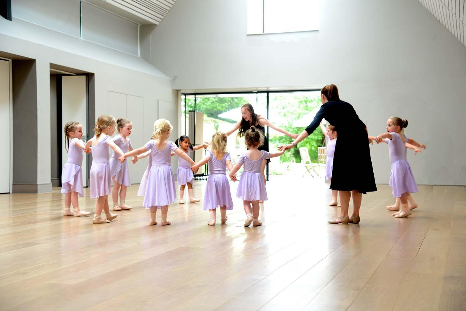 children at a ballet class